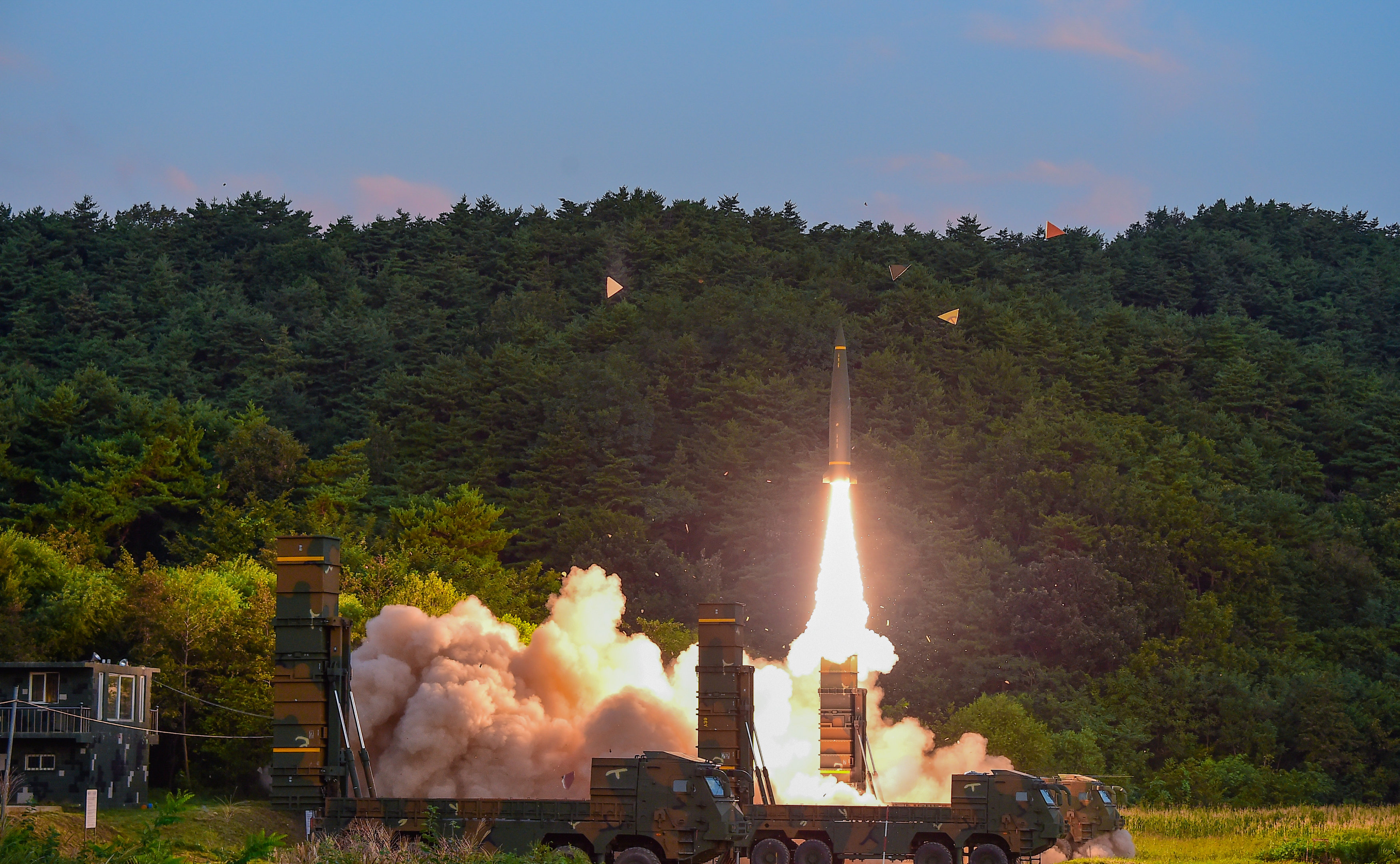 South Korean troops fire Hyunmoo Missile into the waters of the East Sea at a military exercise in South Korea Sept. 4, 2017. (Defense Ministry/Yonhap/via REUTERS)
