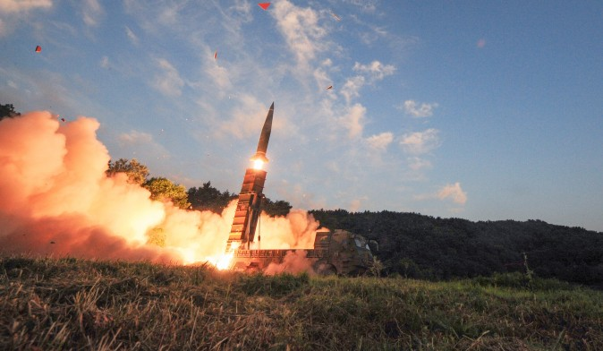 South Korean troops fire Hyunmoo Missile into the waters of the East Sea at a military exercise in South Korea September 4, 2017. Defense Ministry/Yonhap/via REUTERS
