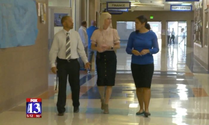 Stansbury High School Assistant Principal Cody Reutzel, Principal Gailynn Warr, and Fox 13 reporter Tamara Vaifanua.  (Screenshot via Fox 13)
