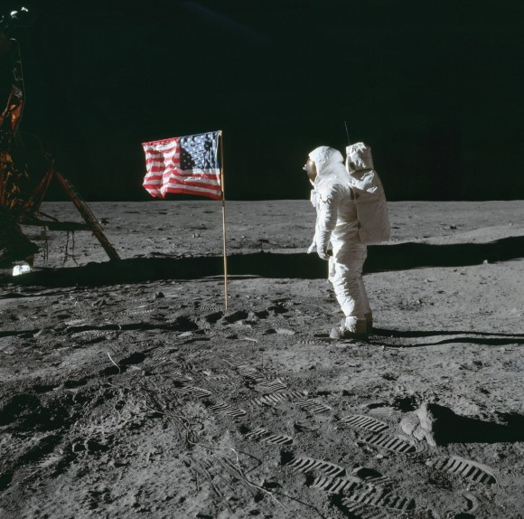 "Jim Bridenstine, Trump's newly nominated administrator of NASA, vows to compete with China in space by launching new manned mission to the Moon. In this July 20, 1969 file photo, astronaut Edwin E. ""Buzz"" Aldrin Jr. stands next to a U.S. flag planted on the moon during the Apollo 11 mission. Aldrin and Neil Armstrong were the first men to walk on the lunar surface. (Neil A. Armstrong/NASA)"
