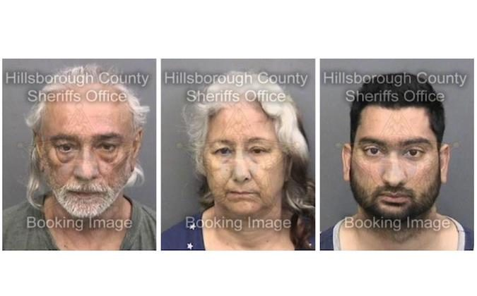 Jasbir Singh Kalsi, 67,  Bhupinder Kalsi, 61, and Devbir Kalsi, 33 are seen in a Hillsborough County Sheriff's Office photo following their arrest on Sept 2, 2017 (Hillsborough County Sheriff's Office)
