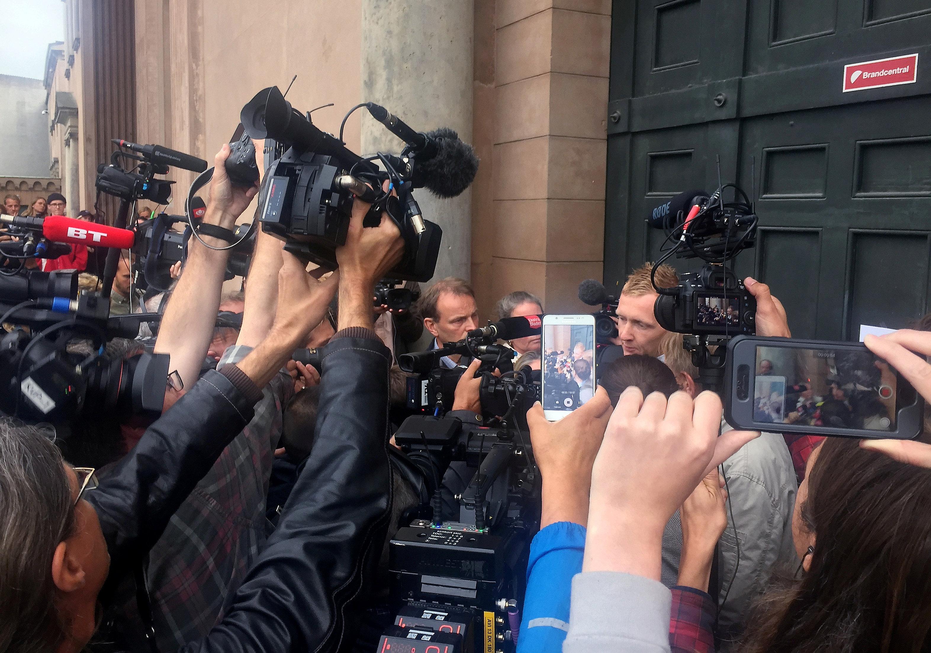 Special prosecutor Jakob Buch-Jepsen talks to the media outside the court in Copenhagen, Denmark on Sept. 5, 2017. (REUTERS/Julie Astrid Thomsen)