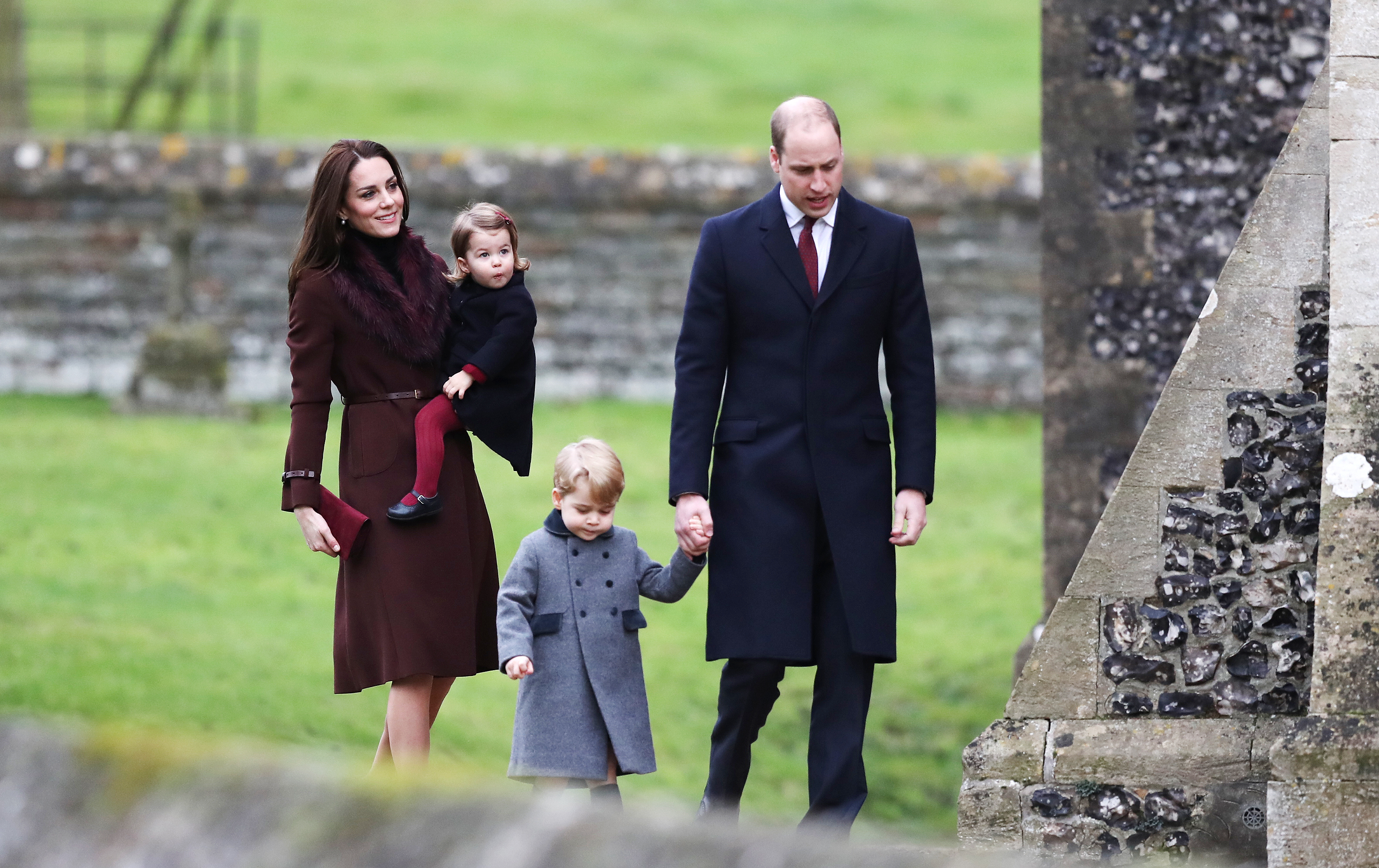 Catherine, Duchess of Cambridge and Prince William, Duke of Cambridge, Prince George of Cambridge and Princess Charlotte of Cambridge arrive to attend the service at St Mark's Church on Christmas Day in Bucklebury, Berkshire on Dec. 25, 2016 .  (Photo by Andrew Matthews - WPA Pool/Getty Images)