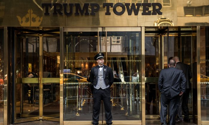 The entrance to the Trump Tower on Fifth Avenue in New York on March 7. President Donald Trump alleged that former President Barak Obama was tapping his phones at the tower. (Drew Angerer/Getty Images)