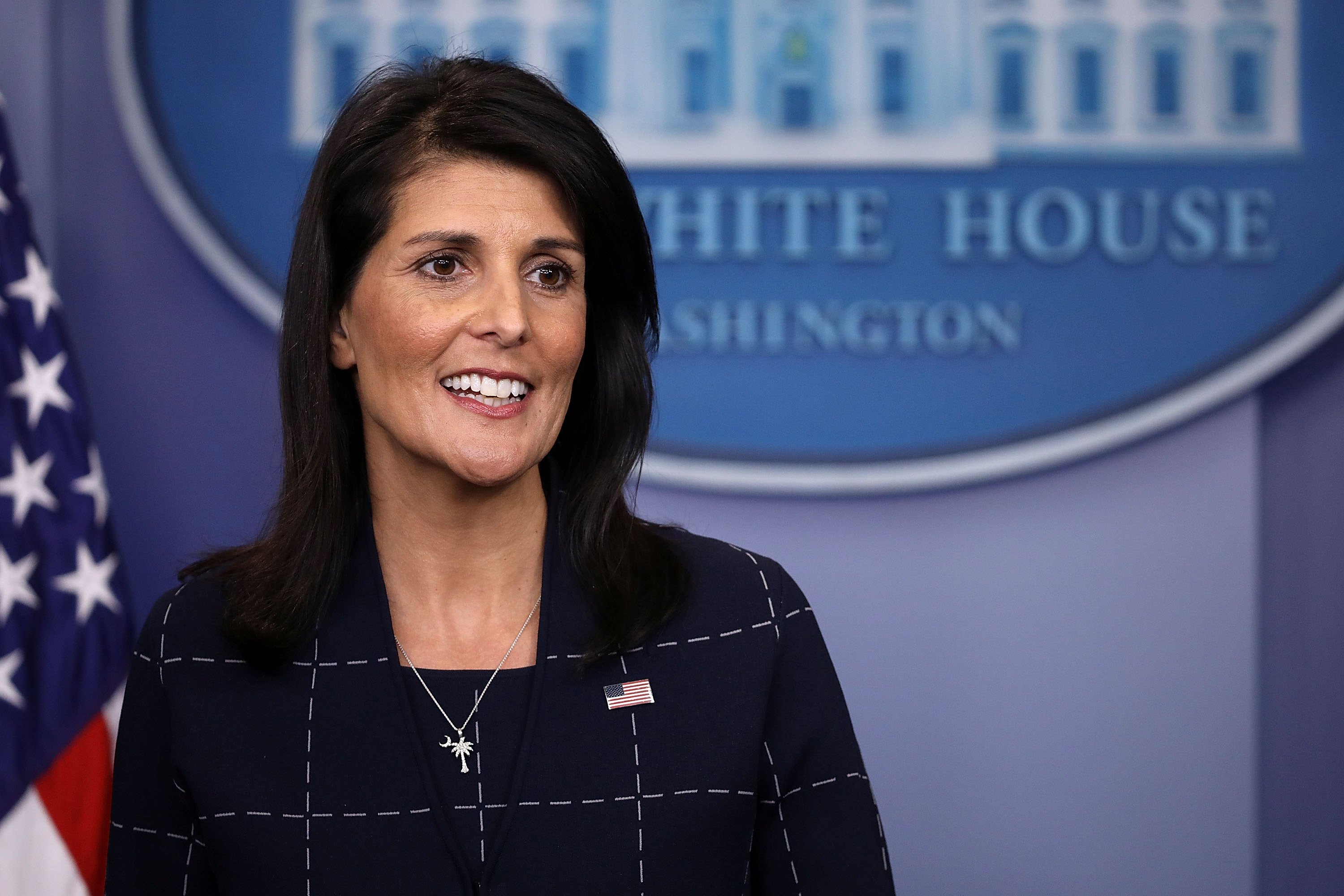 U.S. Ambassador to the United Nations Nikki Haley talks with reporters during the daily press briefing at the White House on April 24, 2017. (Chip Somodevilla/Getty Images)