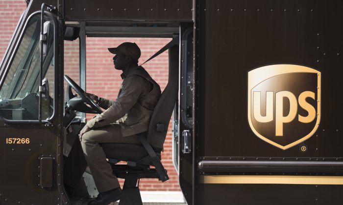 A UPS driver departs the UPS facility on West 43rd street May 9, 2017 in New York, before a news conference.      (DON EMMERT/AFP/Getty Images)