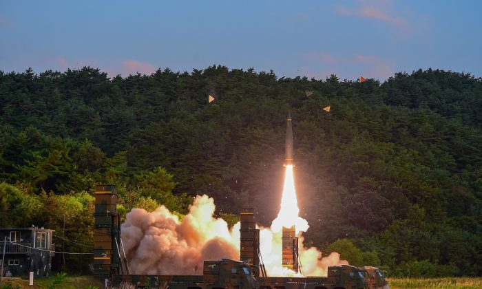 In this handout photo released by the South Korean Defense Ministry, South Korea's Hyunmu-2 ballistic missile is fired during an exercise aimed to counter North Korea's nuclear test on September 4, 2017 in East Coast, South Korea. (Photo by South Korean Defense Ministry via Getty Images)