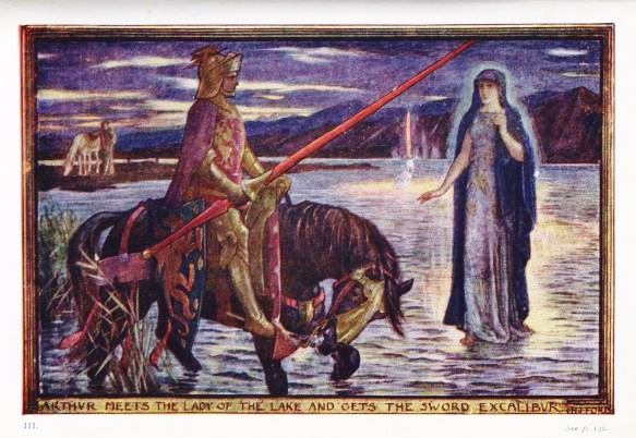 """Illustration by H.J. Ford for Andrew Lang's Tales of Romance, 1919. """"Arthur meets the Lady of the Lake and gets the Sword Excalibur."""" (H.J. Ford/Public Domain)"""