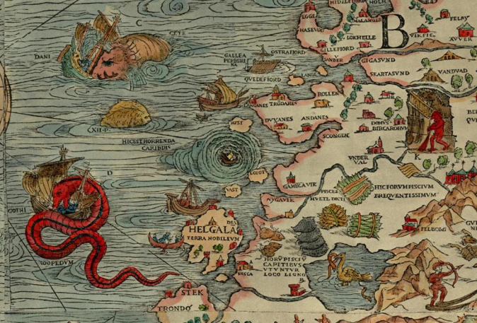 Whirlpools have fascinated for centuries (The maelstrom off Norway, as illustrated by Olaus Magnus on the Carta Marina, 1539)