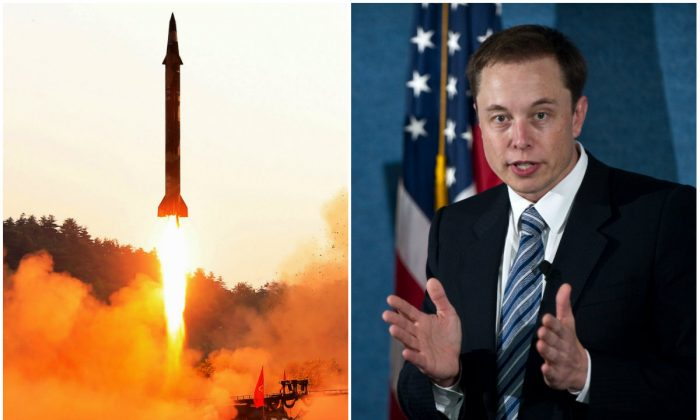 L: The test fire of a ballistic missile at an undisclosed location in North Korea in an undated photo released by North Korea's official Korean Central News Agency on May 30, 2017. (STR/AFP/Getty Images); R: SpaceX CEO Elon Musk unveils the Falcon Heavy rocket at the National Press Club in Washington on April 5, 2011. (NICHOLAS KAMM/AFP/Getty Images)