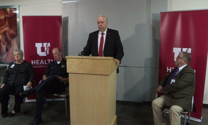 University of Utah Hospital interim Chief Executive Gordon Crabtree opens press conference. (Screenshot via UofUHealth/YouTube)