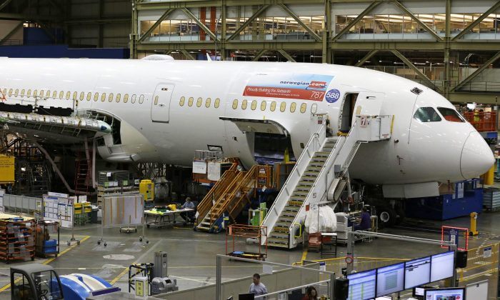A Boeing 787 being built at Boeing Co.'s assembly facility in Everett, Washington, on June 12, 2017.  (AP Photo/Ted S. Warren)