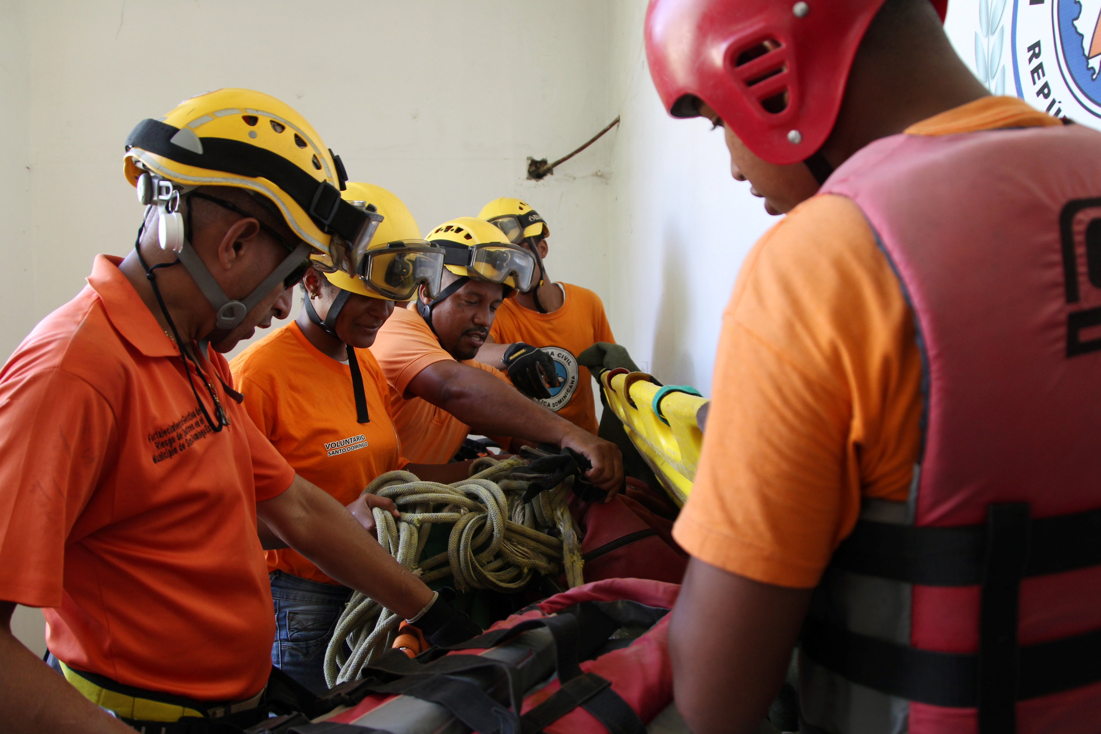 Members of the Civil Defense prepare their gear ahead of Hurricane Irma, in Santo Domingo, Dominican Republic on Sept. 5, 2017. (REUTERS/Ricardo Rojas)