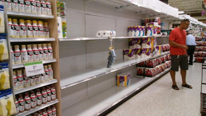 Empty shelves a Publix supermarket in Pembroke Pines, Fla., on Sept. 5, 2017. (The Epoch Times)