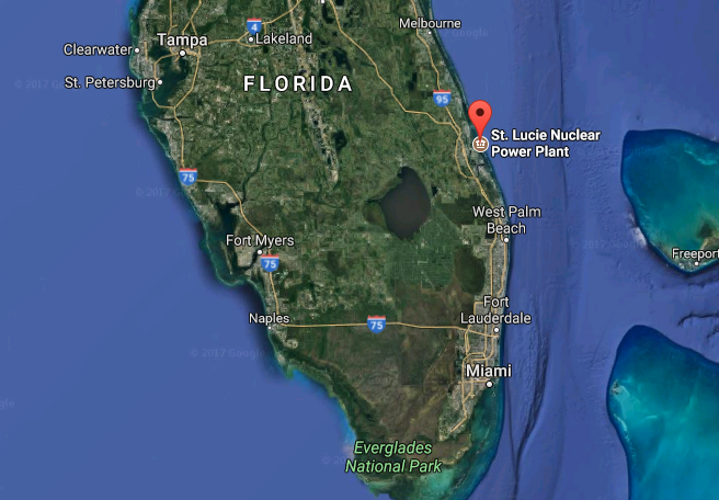 The location of St. Lucie Nuclear Power Plant in Jensen Beach, Fla. (Screenshot via Google Maps)