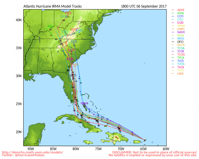 Models of Hurricane Irma path. (University of Wisconsin)