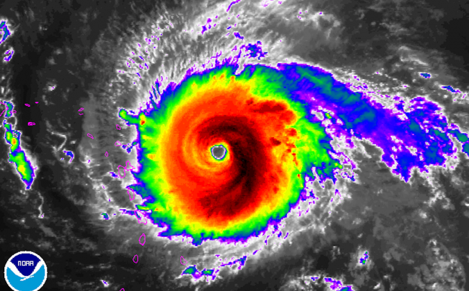 Hurricane Irma reached historic proportions on Wednesday, Sept. 6, becoming the only Atlantic or Eastern Pacific hurricane on record with sustained winds of 185 mph for over 24 hours, according to Eric Blake, a scientist with the National Hurricane Center. (NOAA)