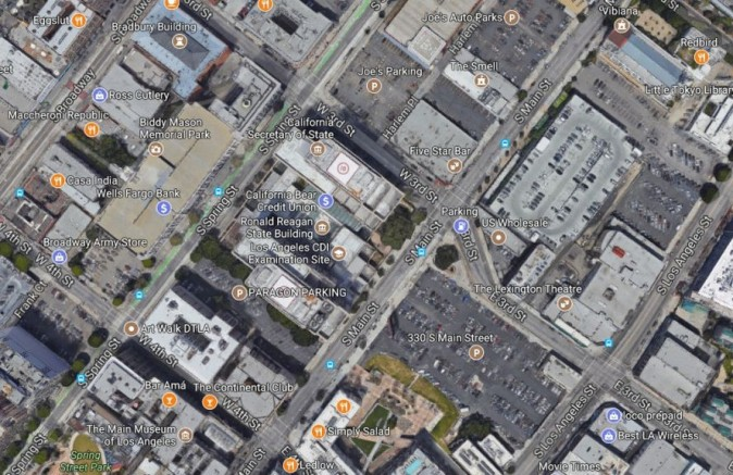 A suspect was wounded in an officer-involved shooting with the CHP early Wednesday, Sept. 6, 2017, on Third Street south of Spring Street in downtown Los Angeles (Google Maps)