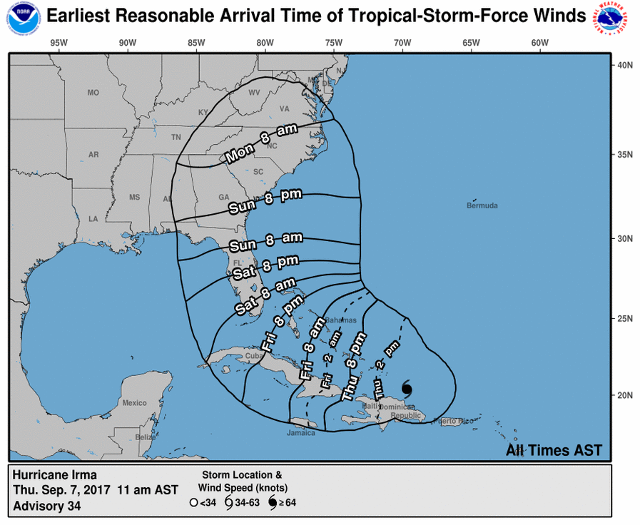 The latest update of Hurrican Irma's projected path from the National Hurricane Centre shows it hitting Florida between Friday night and Saturday morning (National Hurricane Centre)