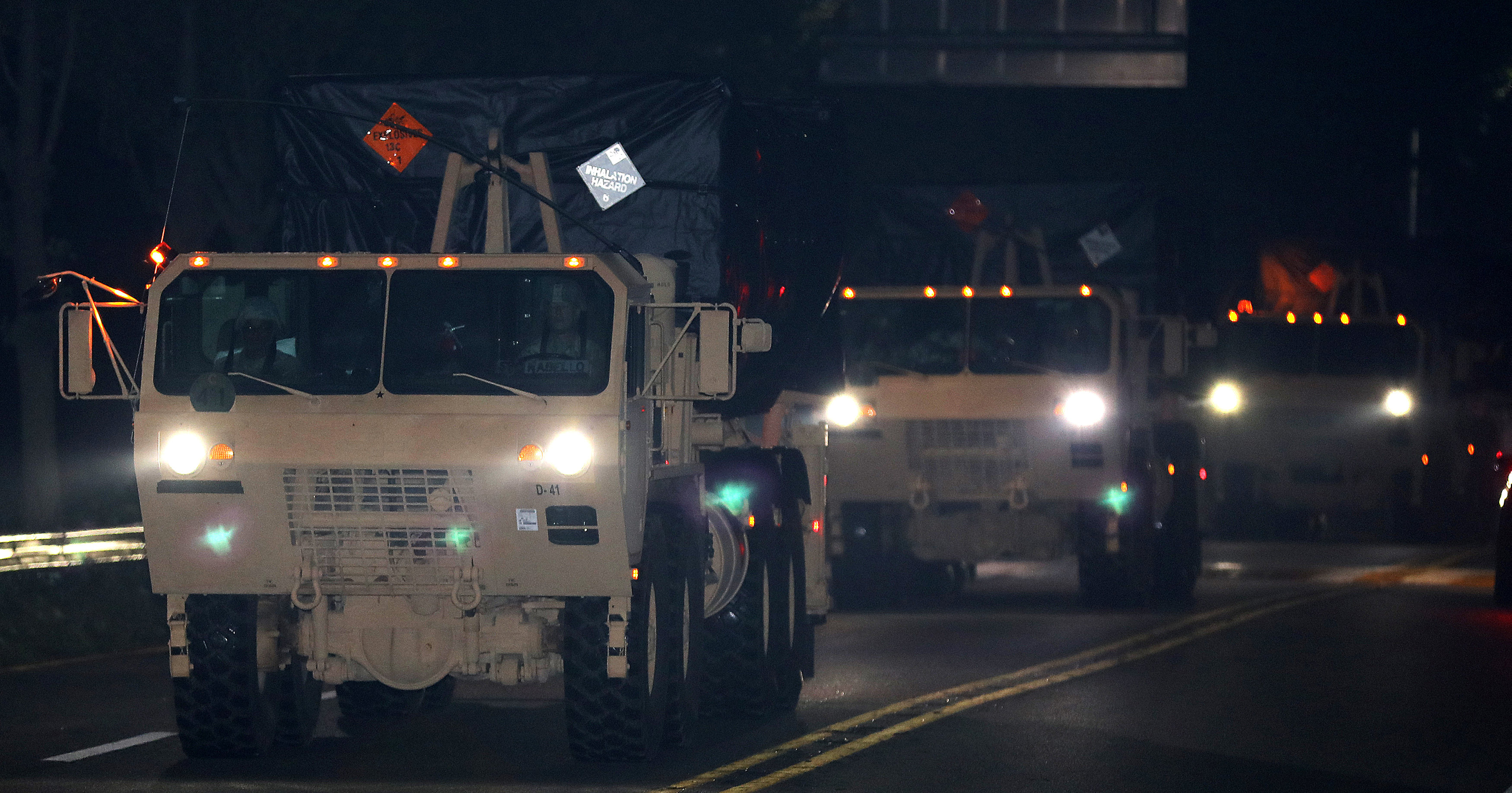 A part of a Terminal High Altitude Area Defense (THAAD) system travels as it heads for Seongju, near the Osan Air Base in Pyeongtaek, South Korea on Sept. 7, 2017. (Oh Jang-hwan/News1 via REUTERS)