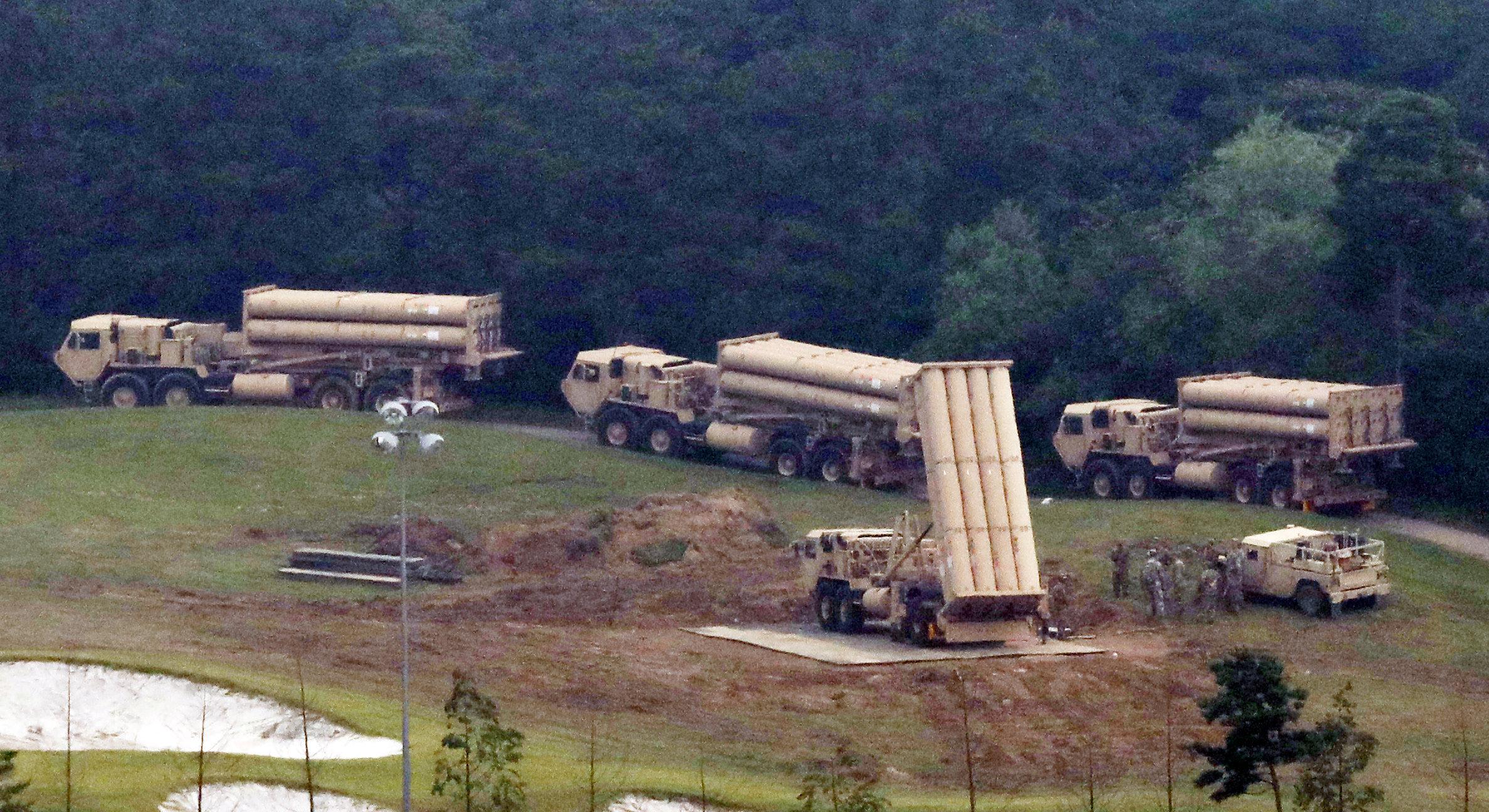 Terminal High Altitude Area Defense (THAAD) interceptors are seen as they arrive at Seongju, South Korea on Sept. 7, 2017. (Lee Jong-hyeon/News1 via REUTERS)