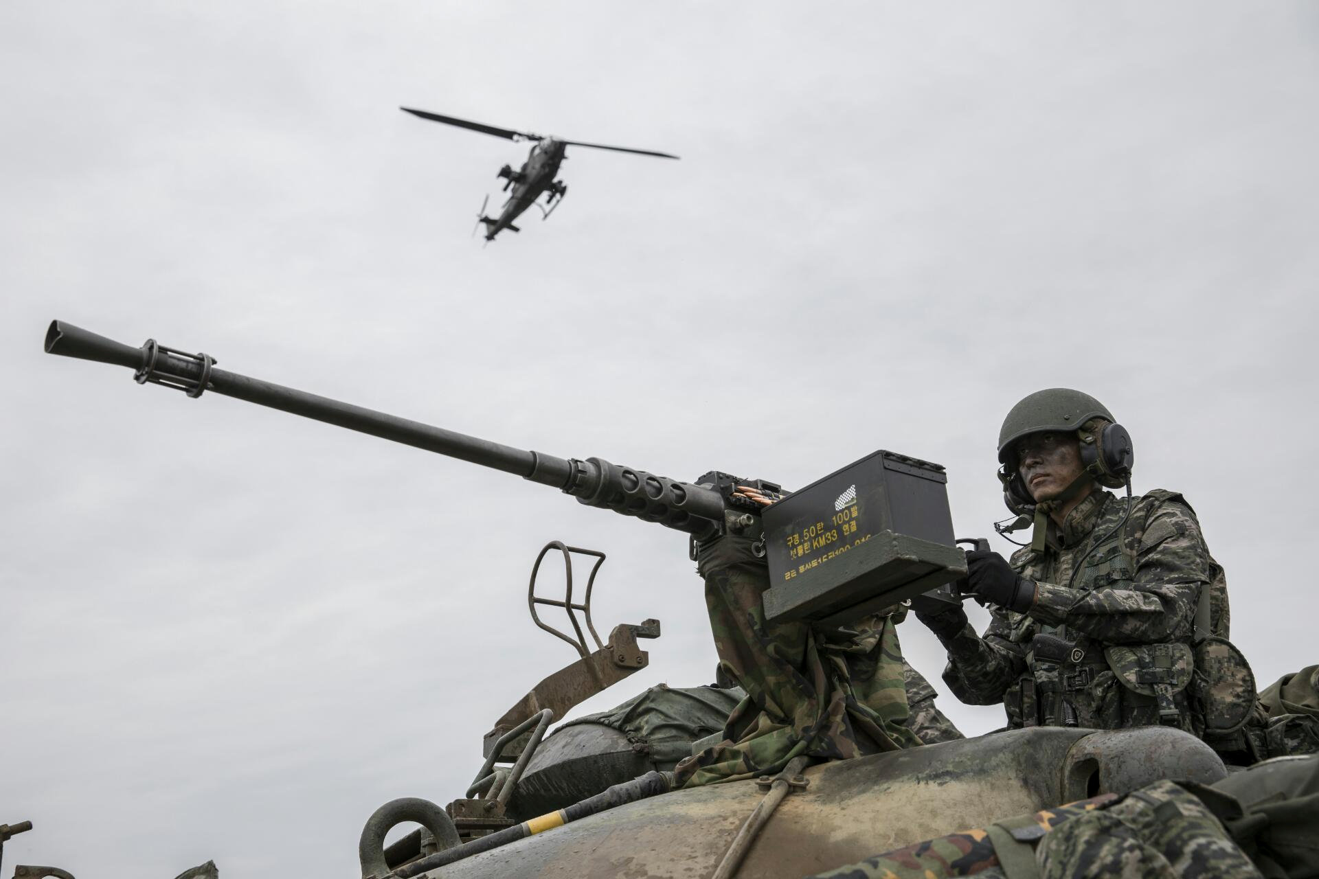 A South Korean marine takes part in a military exercise on South Korea's Baengnyeong Island, near the disputed sea border with the north, in this handout picture provided by South Korean Marine Corps and released by Yonhap on Sept. 7, 2017. (South Korean Marine Corps/Yonhap via REUTERS)
