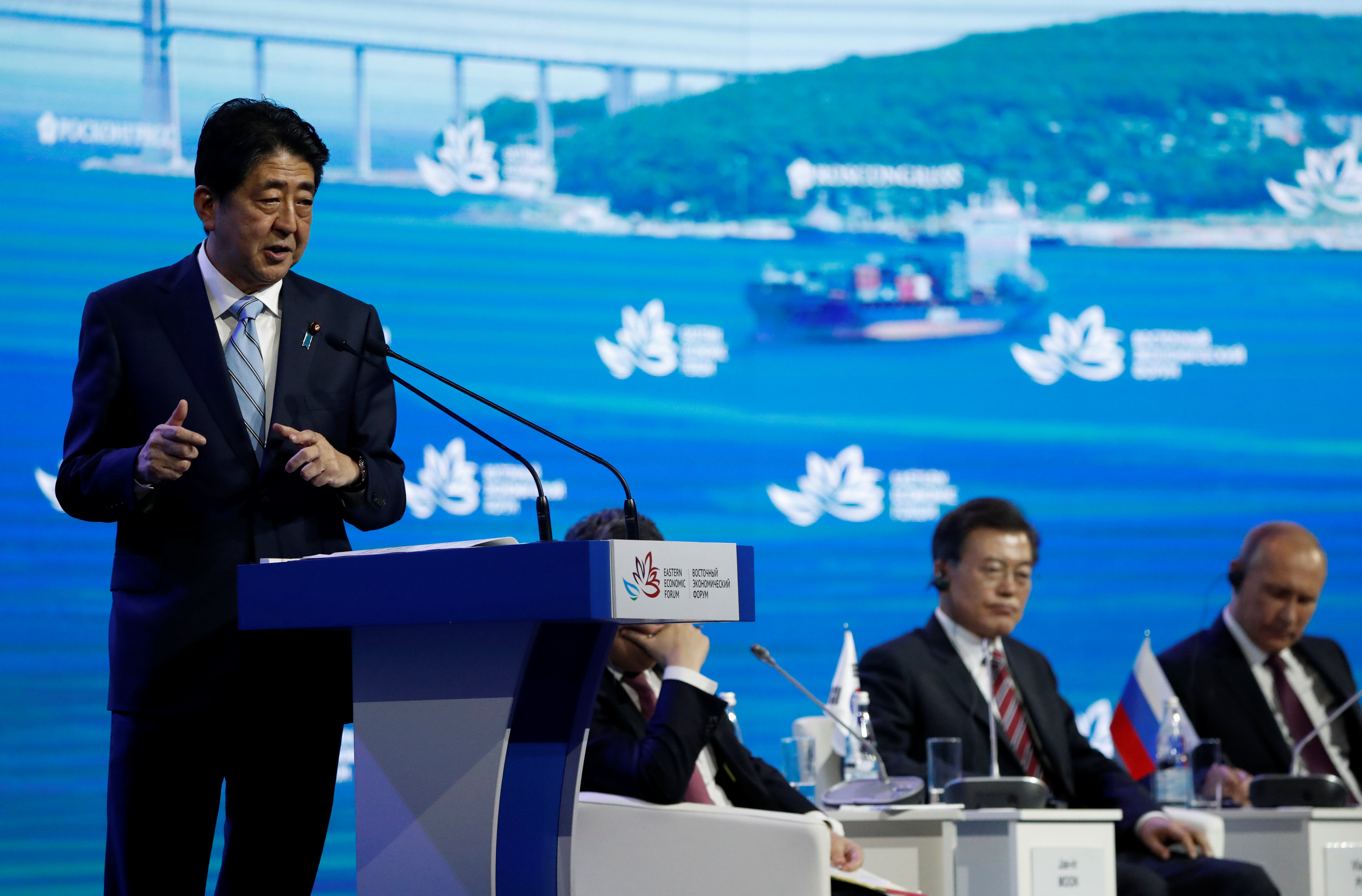 Japanese Prime Minister Shinzo Abe delivers a speech during a session of the Eastern Economic Forum in Vladivostok, Russia on Sept. 7, 2017. (REUTERS/Sergei Karpukhin)