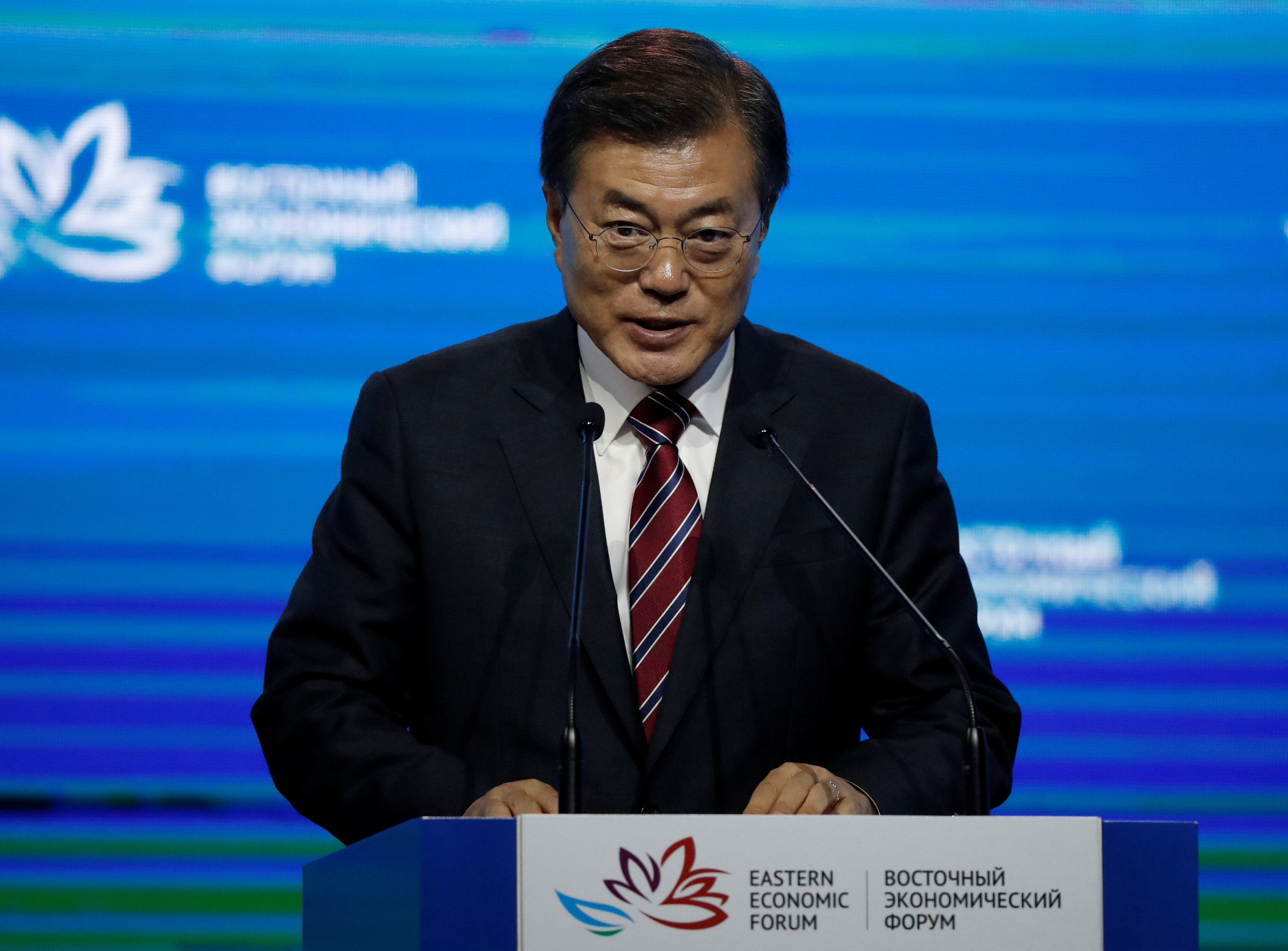 South Korean President Moon Jae-in delivers a speech during a session of the Eastern Economic Forum in Vladivostok, Russia on Sept. 7, 2017. (REUTERS/Sergei Karpukhin)