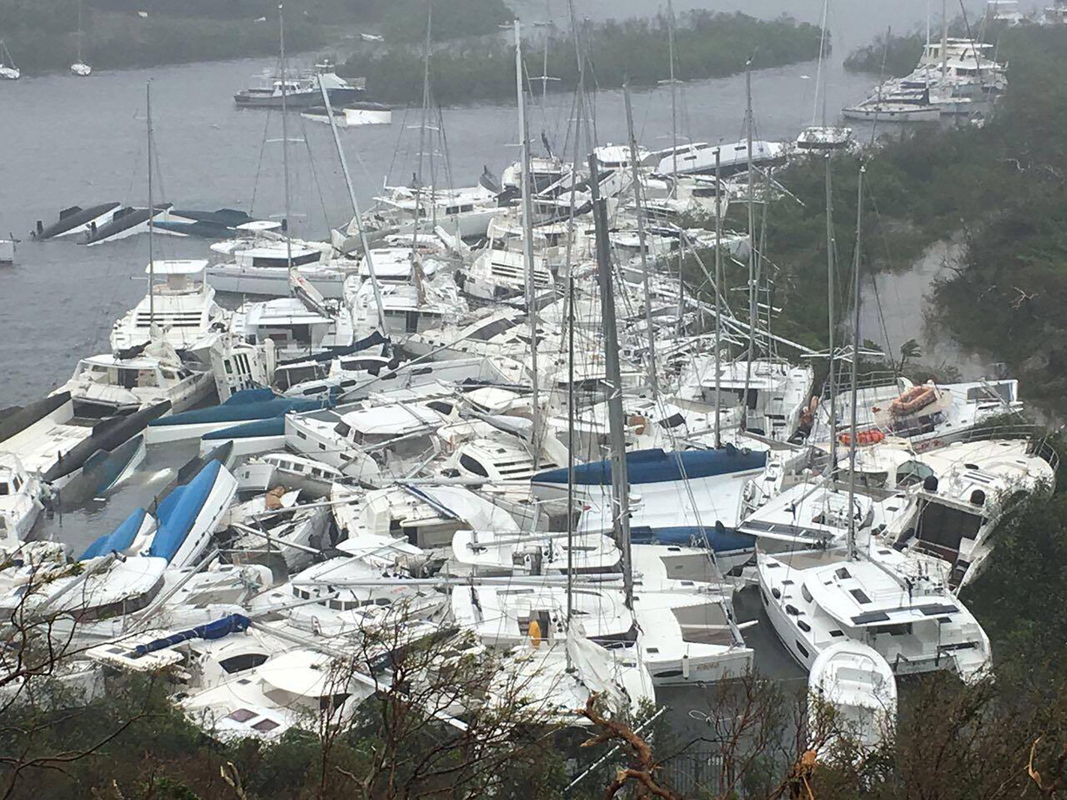 Pleasure craft lie crammed against the shore in Paraquita Bay, Tortola, British Virgin Islands.  Courtesy Ron Gurney/via REUTERS