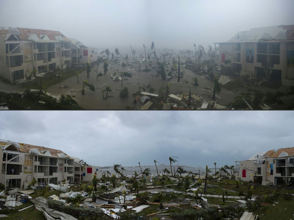 This combination of pictures created on September 7, 2017 shows panoramic photos taken on September 6, 2017 of the Hotel Mercure in Marigot, near the Bay of Nettle, on the French Collectivity of Saint Martin, during and after the passage of Hurricane Irma. (LIONEL CHAMOISEAU/AFP/Getty Images)