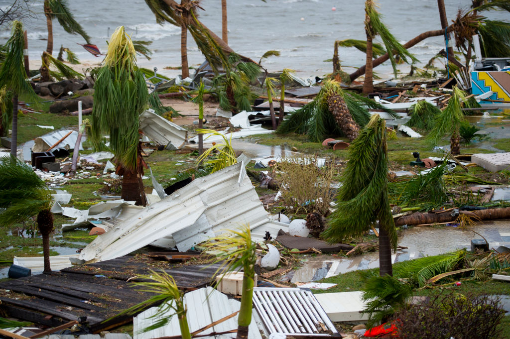 """A photo taken on September 6, 2017 shows destroyed palm trees, outside the """"Mercure"""" hotel in Marigot, on the Bay of Nettle, on the island of Saint-Martin in the northeast Caribbean, after the passage of Hurricane Irma.  France, the Netherlands and Britain on September 7 sent water, emergency rations and rescue teams to their stricken territories in the Caribbean hit by Hurricane Irma, which has killed at least 10 people. The worst-affected island so far is Saint Martin, which is divided between the Netherlands and France, where eight of the 10 confirmed deaths took place.      (LIONEL CHAMOISEAU/AFP/Getty Images)"""