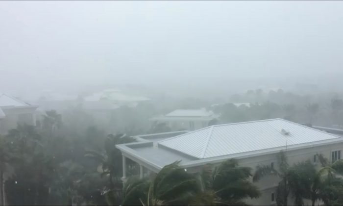A storm batters as Hurricane Irma descends on Providenciales, in the Turks and Caicos Islands, in this still image taken from September 7, 2017 social media video. (Aneesa Khan/via REUTERS)