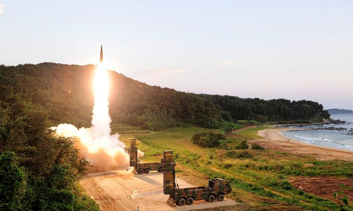 In this handout photo released by the South Korean Defense Ministry, South Korea's Hyunmu-2 ballistic missile is fired during an exercise aimed to counter North Korea's nuclear test in East Coast, South Korea on Sept. 4, 2017. (South Korean Defense Ministry via Getty Images)