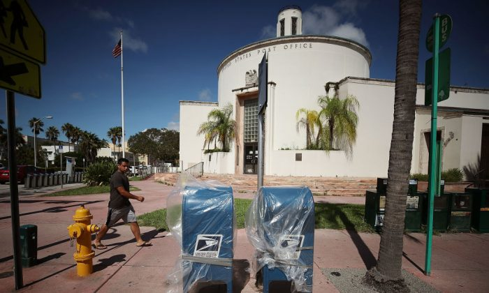 Mail boxes have been covered up as the city prepares for the approaching Hurricane Irma on September 7, 2017 in Miami Beach, Florida.  (Photo by Mark Wilson/Getty Images)