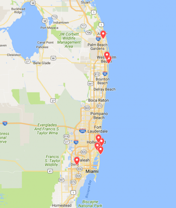 Locations of Trump properties potentially in the path of Hurricane Irma. (Screenshot via Google My Maps)