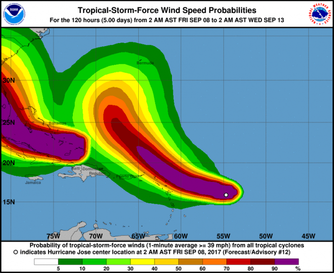 Forecasted windspeed of Hurricane Jose as of 8 a.m. AST, Sept. 8, 2017. (NOAA)