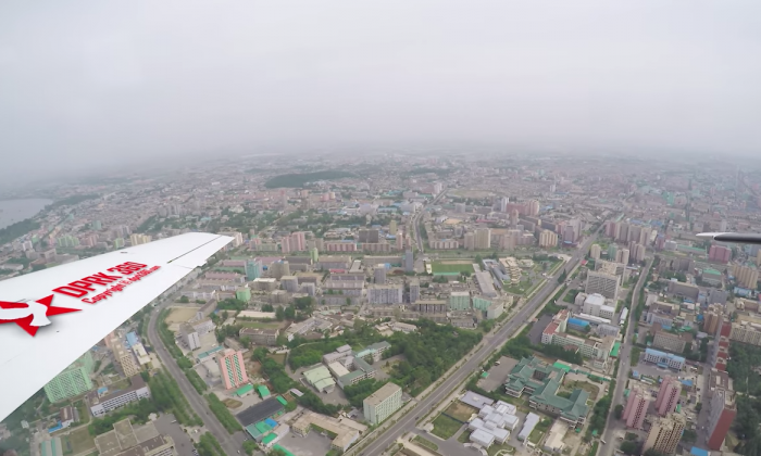 Flying over Pyongyang. (Screenshot via Aram Pan/Youtube)