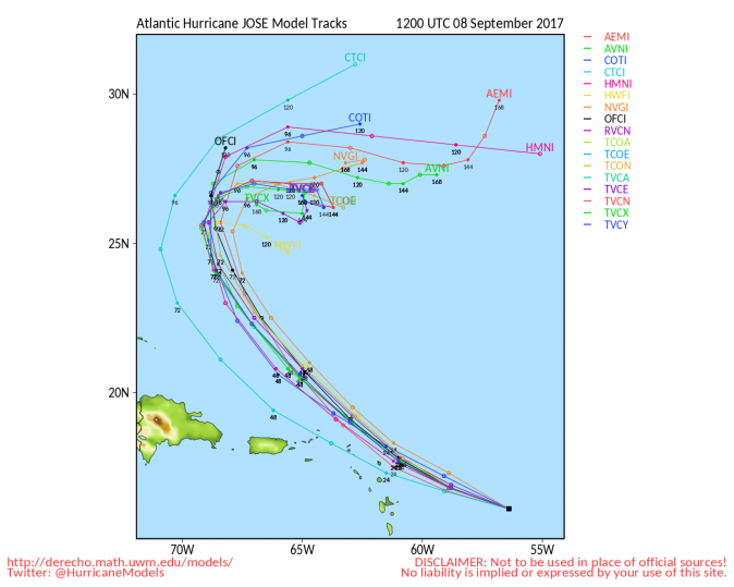 University of Wisconsin models of Hurricane Jose's possible path as of Sept. 8, 2017, 8 a.m. EST. (University of Wisconsin)