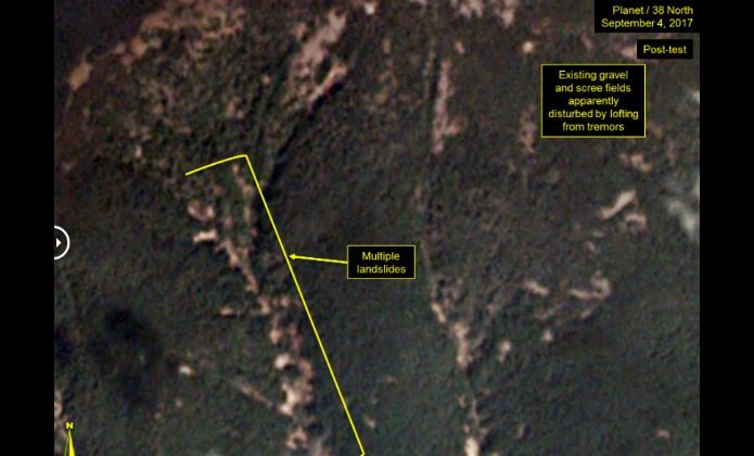 Mountain that likely served as the test site for North Korea's five nuclear blasts is at risk of imminent collapse.  (Planet Labs Inc / CC by SA 4.0)