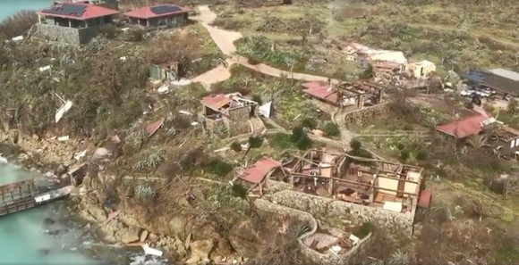 Aerial view of devastation following Hurricane Irma on Eustatia Island, British Virgin Islands September 8, 2017, is seen in this still image taken from social media video. (Caribbean Buzz Helicopters/via Reuters)