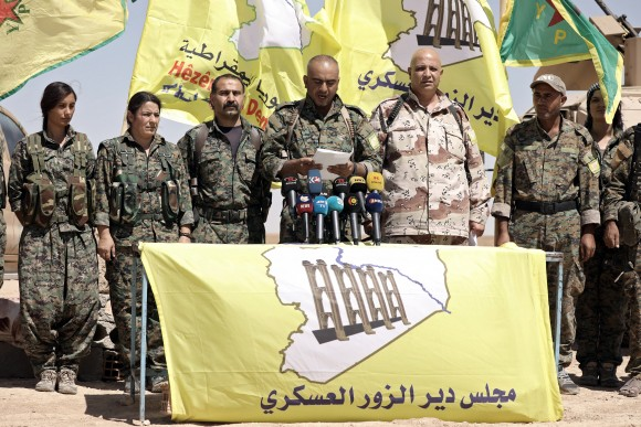 Ahmed Abu Kholeh, head of the Deir al-Zor military council which fights under the Syrian Democratic Forces (SDF), speaks during a press conference in the village of Abu Fas, Hasaka province, Syria September 9, 2017. (Reuters/Rodi Said)