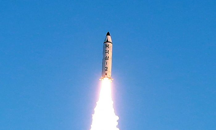 This photo taken on February 12, 2017 and released on February 13 by North Korea's official Korean Central News Agency (KCNA) shows the launch of a surface-to-surface medium long-range ballistic missile Pukguksong-2 at an undisclosed location. (STR/AFP/Getty Images)