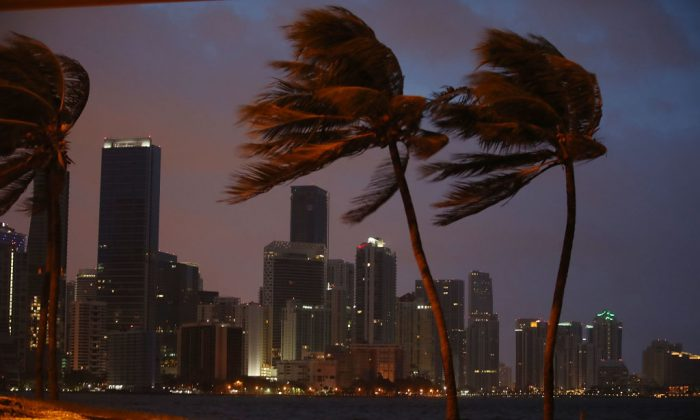 The skyline is seen as the outer bands of Hurricane Irma start to reach Florida on Sept. 9, 2017 in Miami, Florida. (Joe Raedle/Getty Images)