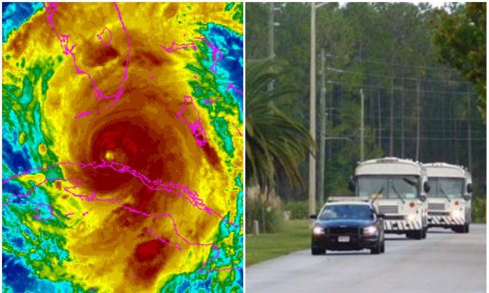 L: Enhanced infrared satellite image of Hurricane Irma. (NOAA); R: (Florida Department of Corrections)