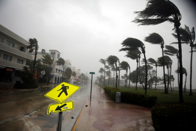 Heavy wind is seen along Ocean Drive in South Beach as Hurricane Irma arrives at south Florida, in Miami Beach, Florida on Sept. 10, 2017. (REUTERS/Carlos Barria)