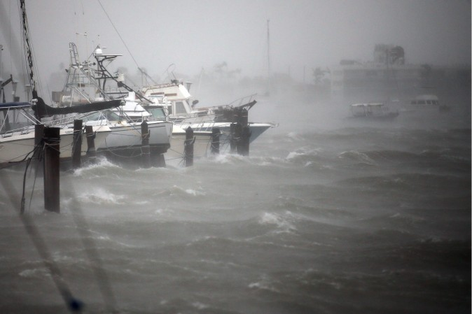 Boats are seen at a marina in South Beach as Hurricane Irma arrives at south Florida, in Miami Beach, Florida on Sept. 10, 2017. (REUTERS/Carlos Barria)