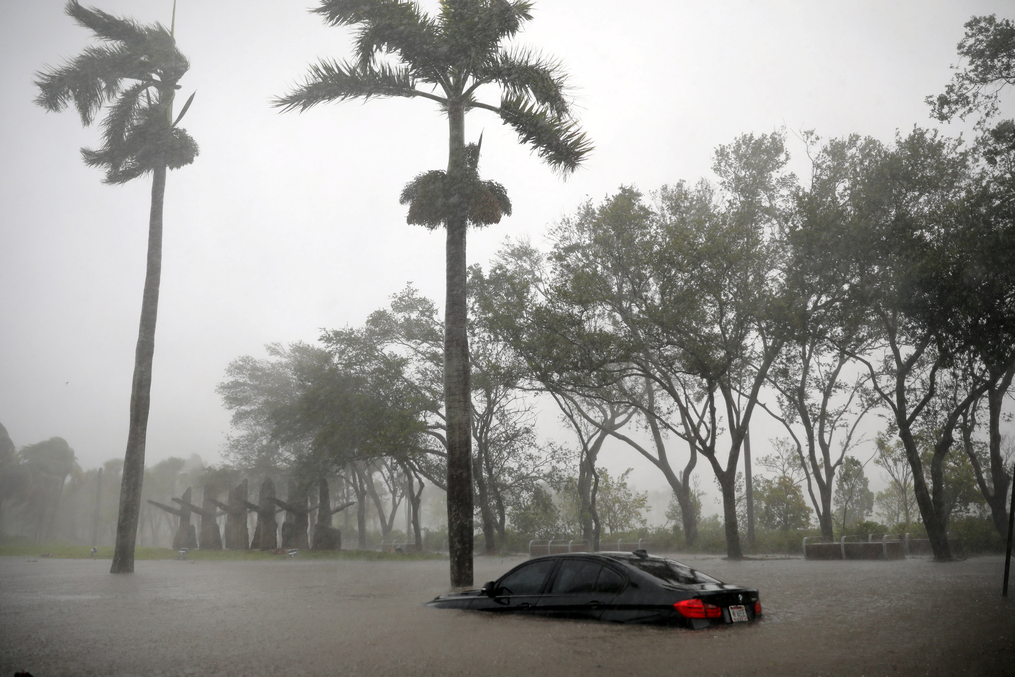 A partially submerged car is seen at a flooded area in Coconut Grove as Hurricane Irma arrives at south Florida, in Miami, Florida on Sept. 10, 2017. (REUTERS/Carlos Barria)