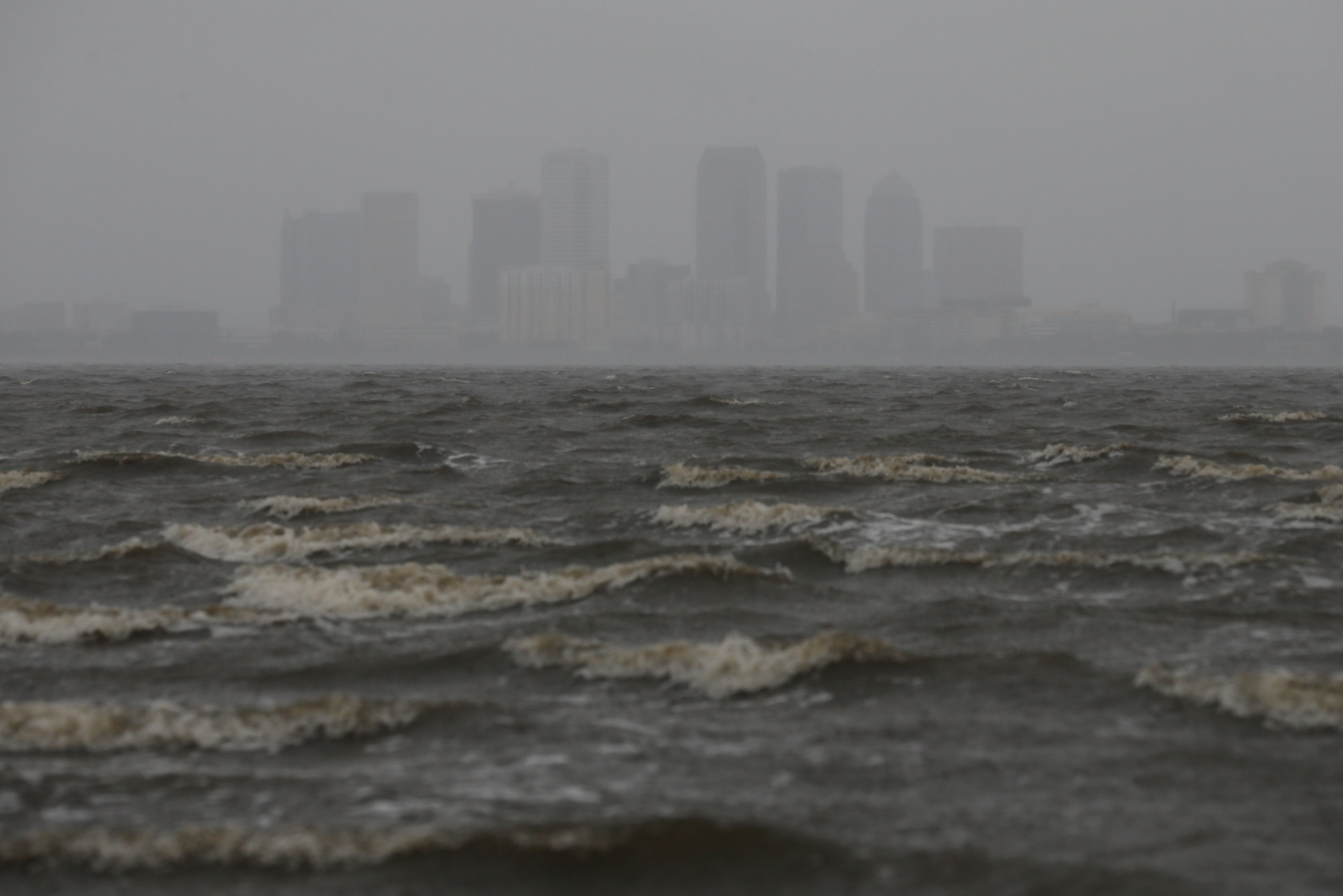 The Tampa skyline is pictured across Hillsborough Bay ahead of the arrival of Hurricane Irma in Tampa, Florida on Sept. 10, 2017. (REUTERS/Chris Wattie)