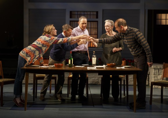 (L–R) Lisa Emery, Keith Reddin, David Chandler, Kathleen Chalfant, and Daniel Jenkins play siblings at the wake after their father's death. (Joan Marcus)