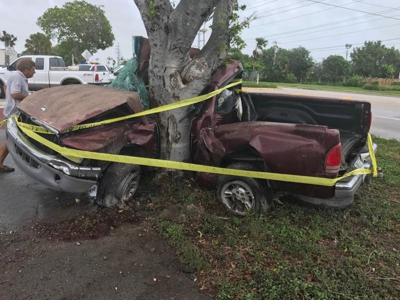 A man died when his pickup truck crashed into a tree in the Florida Keys during Hurricane Irma in Florida in this handout photo obtained by Reuters on Sept. 10, 2017. (Monroe County Sheriff's Department/Handout via REUTERS)